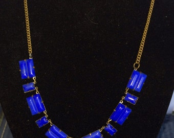 ON SALE  Vintage Jewelry Art Deco Czech blue glass choker