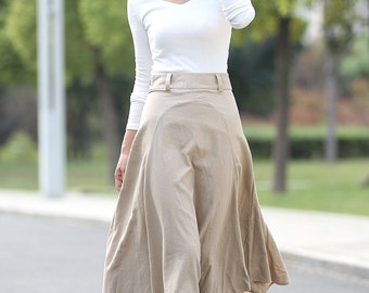 Beige Linen Skirt - Modern Casual Everyday Flattering Slim-Fitted Calf Length Versatile Woman's Skirt C290