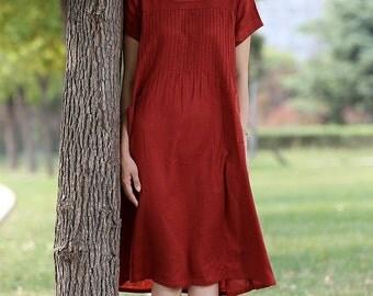 Red linen dress midi dress - C283