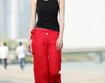 Elegance Casual Red Linen Pants  C368