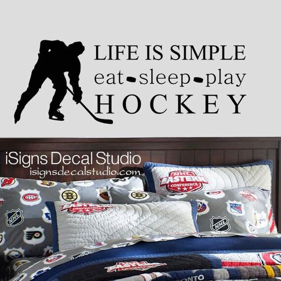 hockey wall decal eat sleep play hockey decal hockey wall decals hockey wall quote decal stickers hockey wall art