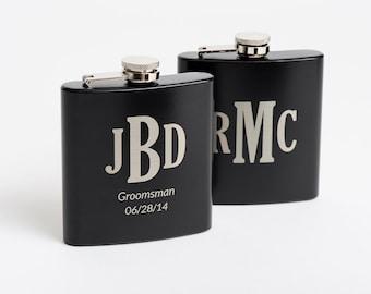 Personalized Groomsmen, Best Man Gift, Monogrammed Flasks, Engraved Black Hip Flasks, Monogram Flask, Flasks