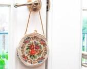Vintage Floral Needlepoint Purse / Kiss Lock Closure / Round Tapestry Handbag