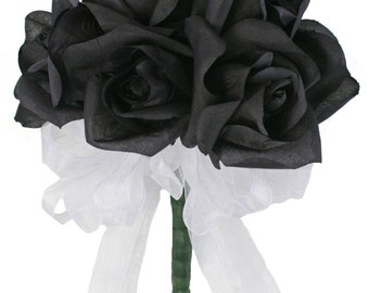 Black Silk Rose Toss Bouquet - 1 Dozen Silk Roses - Bridal Wedding Bouquet