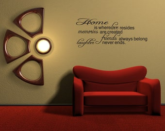 Home Is Where Love Resides Vinyl Decal Quotes Wall Sticker Wall Art Wall Decals Wall Quote (v12)