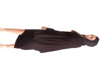 Oversize Black Loose Hooded Top / Asymmetric Extravagant Raglan Long Sleeves Tunic  / Maxi Blouse A02042