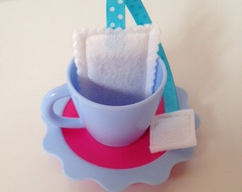 Pretend Play Felt Food Set of Four Tea Bags with Gift Box - Polka Dot & Stripe