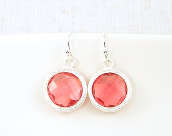 Coral Drop Earrings, Coral Silver Earrings, Silver Bezel Earrings |CJ2-5