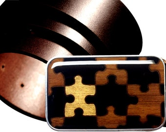 INTERCHANGEABLE Magnetic belt buckle, Gold and Black buckle, Puzzle belt buckle, Wood belt buckle, Gold belt buckle, Gold Puzzle Buckle