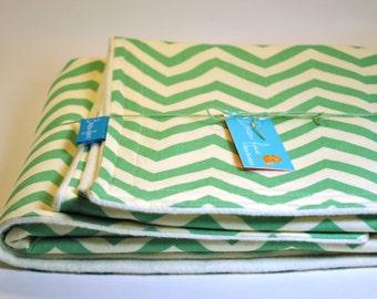 Organic Baby Blanket, Pool/Aqua Blue Chevron, Organic Bamboo Fleece