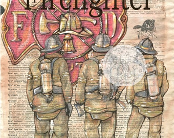 PRINT:  Firefighter Mixed Media Drawing on Distressed, Dictionary Page