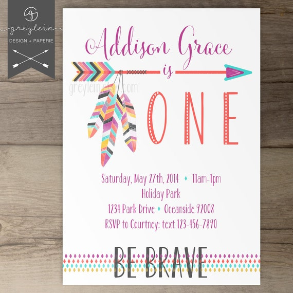 Be Brave Birthday Party Invitations / Invites / arrows by greylein