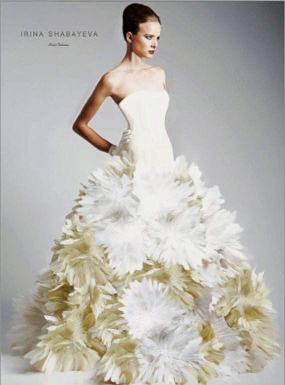 Irina Shabayeva Couture Dropped Waist Feather Bouquet Ball Gown