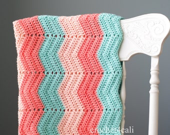 Made to Order Chevron Baby Blanket - Handmade Crochet Newborn Afghan - coral, pink, dark mint