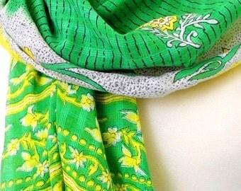 Green Scarf, Cotton Sari Scarf, Cotton Scarf, Floral Scarf, Yellow Scarf, Spring Scarf, Summer Scarf