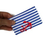 Credit Card Case, business card wallet, ID badge purse, nautical style with stripes and anchors
