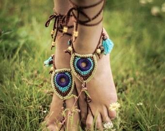 Barefoot Sandals Tribal Peacock Czech Beads Crochet Foot Jewelry Hippie Festival Wear Yoga Beach Boho Anklet Destination wedding shoes
