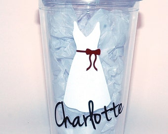 Flower Girl Tumbler with Lid and Straw - Personalized Flower Girl Gift