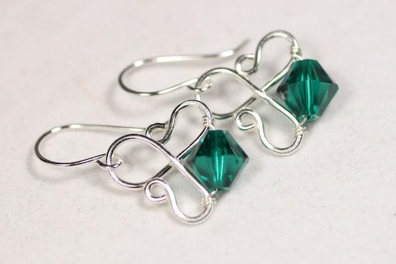emerald earrings wire wrapped jewelry by jessicaluujewelry