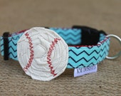 Dog Collar - Baseball with Two-Toned Blue Chevron
