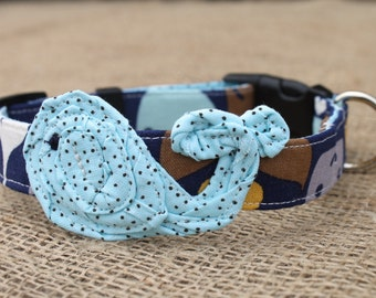 Dog Collar - Navy Whale Print with Light Blue Whale