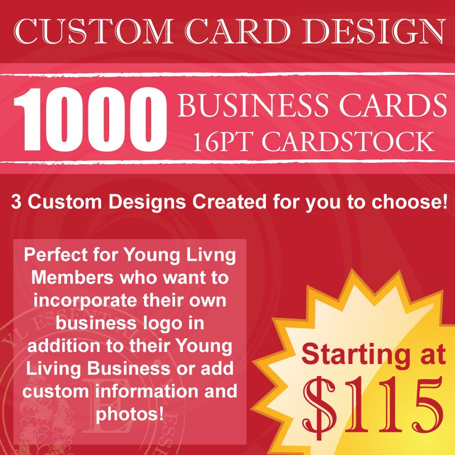 1000 Young Living Business Cards CUSTOM Design & by