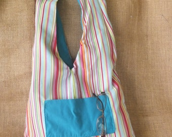 Reversible Turquoise Striped Hobo Bag With Matching Wristlet