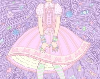 Decora Lolita Print 4x6 Kawaii purple hair Original Art Postcard