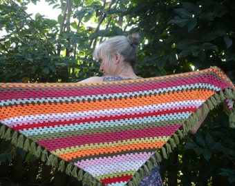 REDUCED Shawl: Bright striped crocheted shawl with fringe.  Warm
