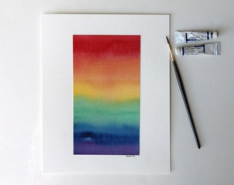 LGBT Flag, LGBT Pride, Gay Pride, Gay Art, Rainbow painting, Watercolor Painting, Abstract Watercolor, Rainbow Flag