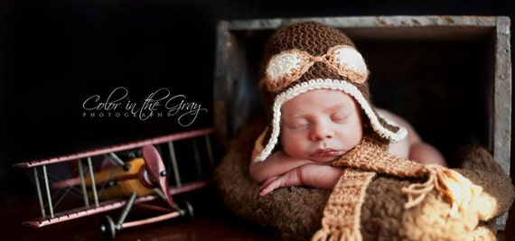 Crochet Aviator Hat and Scarf Set - Photo Prop - With Goggles