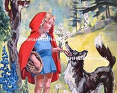 "Restored Art ""Hey There Little Red Riding Hood"" - 1950s ""kids""  Remember that Song?  Children's Story  OR  Old Song RESTORED ART  #91"