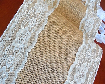 Burlap table runner rustic wedding table runner with vintage ivory lace rustic romantic wedding decoration