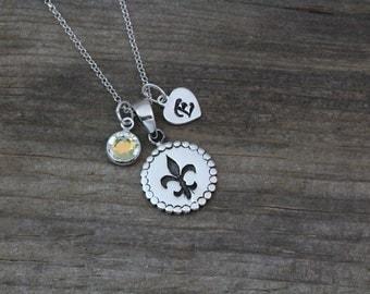 Sterling Silver Fleur-De-Lis Necklace. Personalized Fleur De Lis with birthstone, Fleur De Lis Jewelry