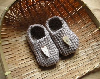 MANI - Baby slippers in pure cotton - beige - 0/3 months - other colorsmade to order