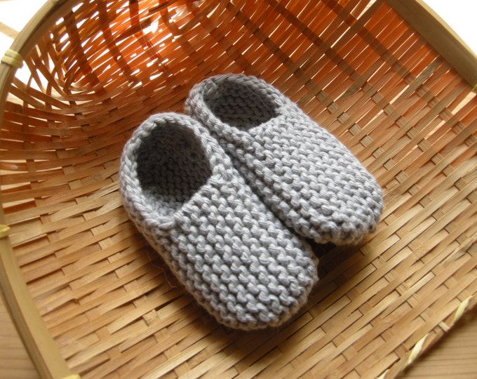 MANI - Baby slippers in pure cotton - light grey - 0/3 months - other colors made to order