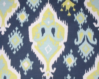 Ready To Ship / 50W x 84L / Pair of Rod Pocket Curtains in Navy, Lime Green, Aqua and White Slub Premier Ikat