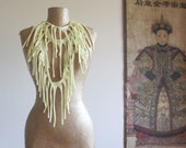 Long fabric fringe necklace, skinny tattered infinity scarf, light yellow. Upcycled T shirt, recycled, repurposed, eco-friendly gift for her