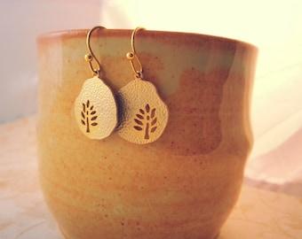 Gold Leaf Cutout Earrings, Leaf Earrings, Petite Earrings, Silhouette Jewelry, Tiny Earrings, Valentines Day Gift