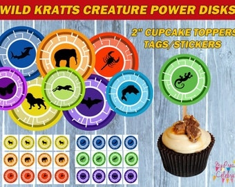Animal Creature Disks- Cupcake Toppers - Wild Kratts TAGS - birthday party favors
