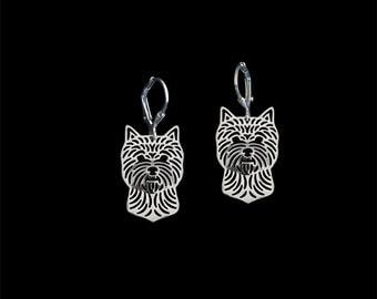 Norwich Terrier earrings - sterling silver.