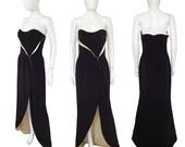 Thierry Mugler 1990s Vintage Evening Dress Strapless Maxi Gown Designer Red Carpet Fashion Black Cream Silk US Size 6-8 Small