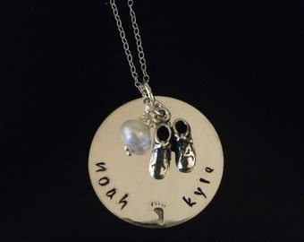 Personalized Silver Mommy Necklace - Hand Stamped