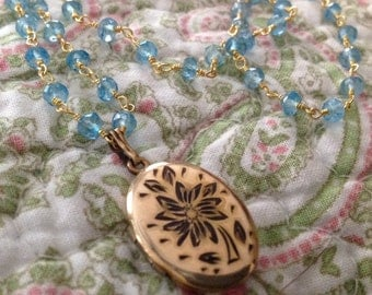 """CAVIAR DREAMS John I Love You - Vintage Gold Flower Locket / Pendant Blue Topaz Wire Wrapped Chain - 19"""" - Etsy andersonhs"""