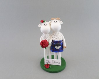 Customized Sheep Scottish Wedding Cake Topper
