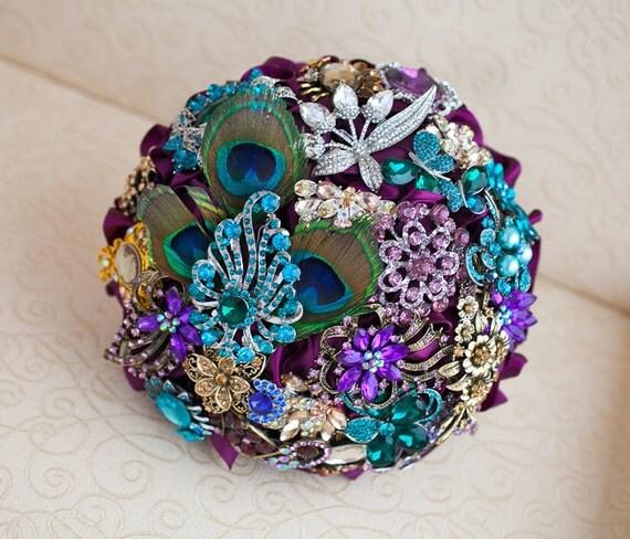 Peacock Wedding Ideas Etsy: Brooch Bouquet. Peacock Wedding Brooch Bouquet Jeweled