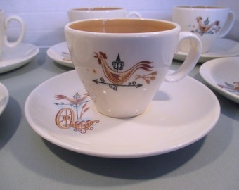 Taylor Smith Taylor Weathervane Rooster Wagon Wheel Ever Yours - Set of 6 Cups and Saucers