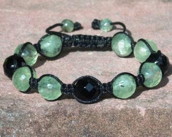 Prehnite and Onyx Shamballa Bracelet