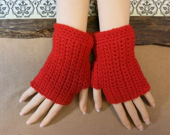 Crochet Fingerless Gloves, Wrist Warmers, Red Arm Warmers, Wool Mittens, School Student Gloves, Australia, Nchanted Gifts