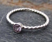 Twist Stacking Ring Alexandrite 3mm - June Birthstone Ring, Birthstone Twist Ring, Silver Twist Ring, Alexandrite Solitaire Ring, Handmade